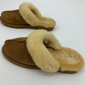 LL Bean Lined slippers furry fuzzy Sherpa size 10